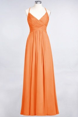 Chiffon A-Line Spaghetti-Straps V-Neck Sleeveless Long Bridesmaid Dress with Ruffles_15