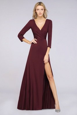 Spandex A-Line V-Neck Long-Sleeves Side-Slit Long Bridesmaid Dress with Ruffles_33
