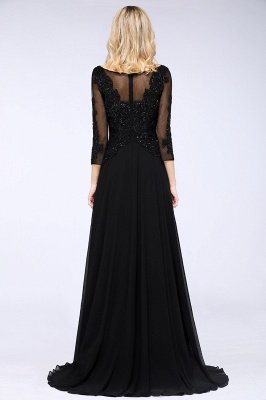 New Arrival Black 3/4 Sleeves Beads A-Line Appliques Bridesmaid Dresses_2