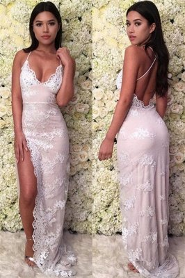 Mermaid Glamorous Spaghetti-Straps Lace Appliques Backless Prom Dresses_1