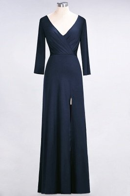 Spandex A-Line V-Neck Long-Sleeves Side-Slit Long Bridesmaid Dress with Ruffles_24