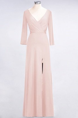 Spandex A-Line V-Neck Long-Sleeves Side-Slit Long Bridesmaid Dress with Ruffles_5