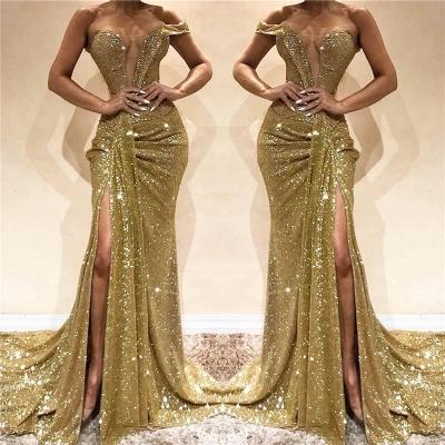 One Shoulder Sexy Seitenschlitz Pailletten Abendkleid | Ärmellose funkelnde billige Ballkleider online_3