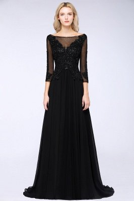 New Arrival Black 3/4 Sleeves Beads A-Line Appliques Bridesmaid Dresses