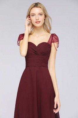 A-ligne en mousseline de soie sweetheart capuchon manches robe de demoiselle d'honneur longue au sol_5