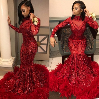 Red Mermaid Sequins Long Sleeves High Neck Prom Dresses_5