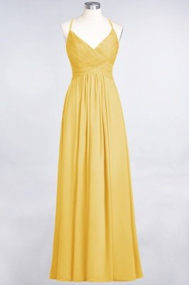 Chiffon A-Line Spaghetti-Straps V-Neck Sleeveless Long Bridesmaid Dress with Ruffles_16