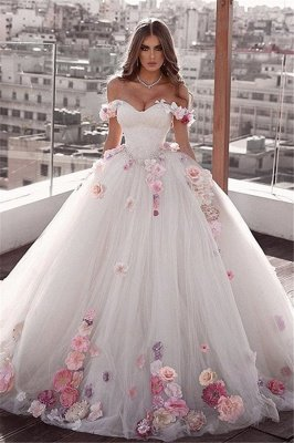 Glamorous Off-The-Shoulder Flower Ball-Gown Wedding Dresses_1