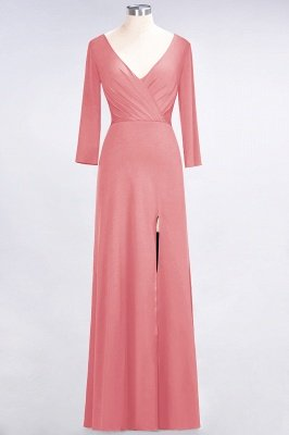 Spandex A-Line V-Neck Long-Sleeves Side-Slit Long Bridesmaid Dress with Ruffles_6