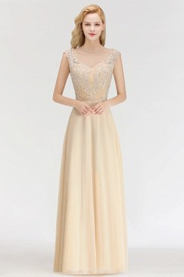 Elegant Champagne Sleeveless A-Line Crystal Jewel Bridesmaid Dresses