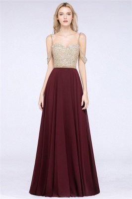 Appliques Spaghetti Straps Prom Dresses | A-Line Sleeveless Evening Dresses