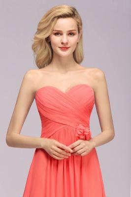 Simple Sweetheart Strapless Flower Watermelon Bridesmaid Dress_8