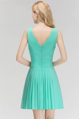 Mabel | Modest Ruffles Sexy V-Neck Sleeveless Short Bridesmaid Dress_2