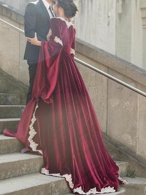 Schöne Weinrote Arabia Abendkleider | Muslimische Abendmode Mit Ärmeln_2