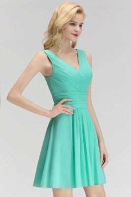 Mabel | Modest Ruffles Sexy V-Neck Sleeveless Short Bridesmaid Dress_7