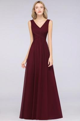 Chiffon A-Line Straps V-Neck Sleeveless Long Bridesmaid Dress with Ruffles_4