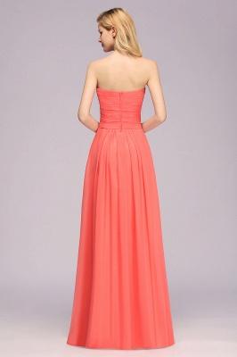 Simple Sweetheart Strapless Flower Watermelon Bridesmaid Dress_2
