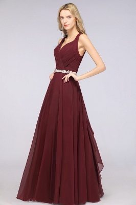 Chiffon A-Line Halter V-Neck Sleeveless Ruffle Long Bridesmaid Dress with Appliques Sashes_6