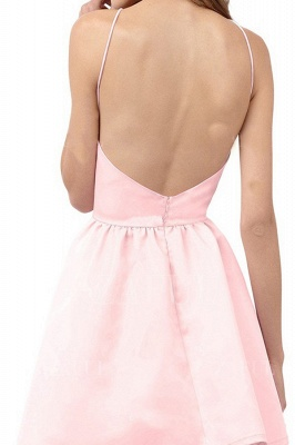 Simple Pink Homecoming Dresses Halter Open Back Short Graduation Dress_3