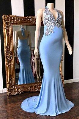 Schlichte Blaue Abendkleider Neckholder | Elegante Abendmode Schwangere_1
