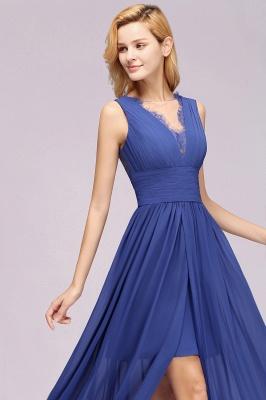 Eleganter Chiffon Lace Jewel Sleeveless bodenlangen A-Line Rüschen Brautjungfernkleid_7