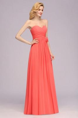 Simple Sweetheart Strapless Flower Watermelon Bridesmaid Dress_5