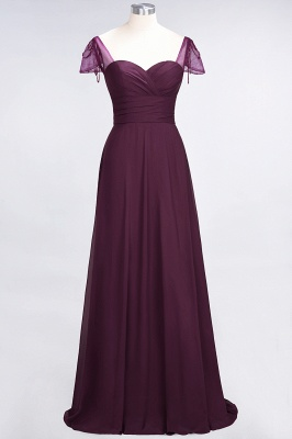 Chiffon A-Line Sweetheart Cap-Sleeves Ruffle Long Bridesmaid Dress with Beadings_1
