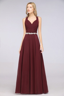Chiffon A-Line Halter V-Neck Sleeveless Ruffle Long Bridesmaid Dress with Appliques Sashes_4