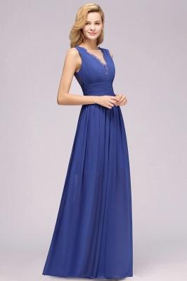 Eleganter Chiffon Lace Jewel Sleeveless bodenlangen A-Line Rüschen Brautjungfernkleid_6