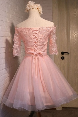 New Lace Appliques Off-the-shoulder Half Sleeve Short Homecoming Dress_3