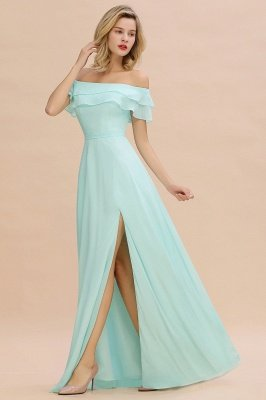 High Quality Off-the-Shoulder Front-Slit Mint Green Bridesmaid Dress_4