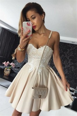 Hot Champagne Homecoming Dresses | Sweetheart Neckline Puffy Hoco Dresses_2