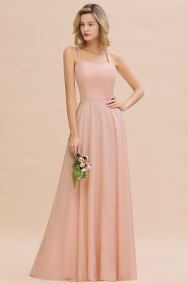 Modern Chiffon Straps Sleeveless Open Back Long Bridesmaid Dress Cheap Online