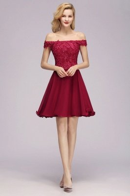 Maggie | Elegant Lace Off-the-Shoulder Short Cheap Bridesmaid Dress