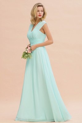 Mint Chiffon V-Neck Sleeveless Elegant A-line Bridesmaid Dress with Ruffles