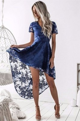 Elegant Short Sleeve Lace Homecoming Dress Hi-Lo Party Gowns_2