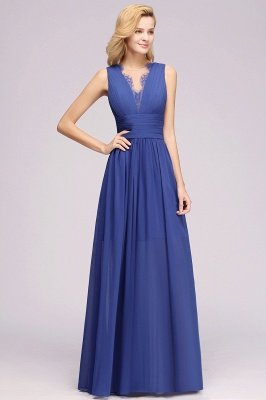 Chiffon Lace Jewel Sleeveless Long Train Ruffles Short Bridesmaid Dress_4