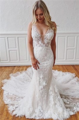Elegant Straps V-Neck Lace Detachable Mermaid Wedding Dresses