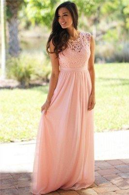 EMELY | Sheath Crew Sleeveless Floor-length Lace Top Chiffon Bridesmaid Dresses_9