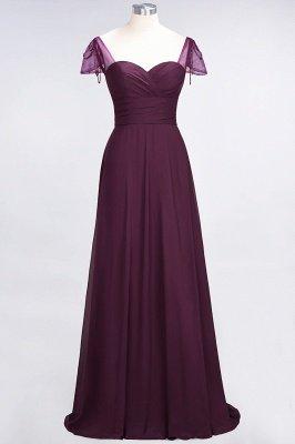 A-ligne en mousseline de soie sweetheart capuchon manches robe de demoiselle d'honneur longue au sol_1