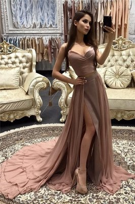 Sexy A-line Prom Dresses Layers Side-Slit Straps Long Evening Gowns CD0066