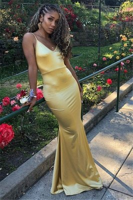Elegant Gold Spaghetti-Straps Sleeveless Mermaid Evening Dresses