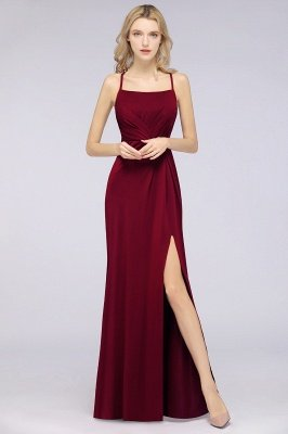Spandex Lace Mermaid Spaghetti-Straps Sleeveless Long Bridesmaid Dress with Ruffle_33