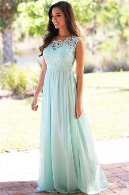 EMELY | Sheath Crew Sleeveless Floor-length Lace Top Chiffon Bridesmaid Dresses_7