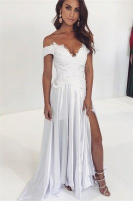 Gorgeous Off-The-Shoulder Appliques Side-Slit A-Line Wedding Gown