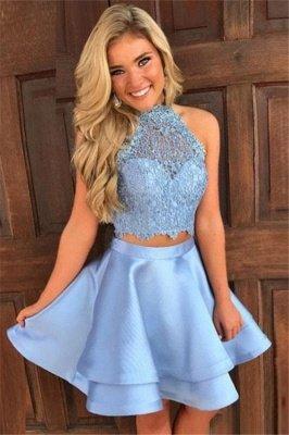 Cute Two-Piece Homecoming Dresses   Blue Halter Neck Hoco Dresses_1