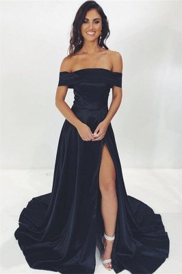Glamorous Black Off-The-Shoulder Side-Slit A-Line Evening Dresses