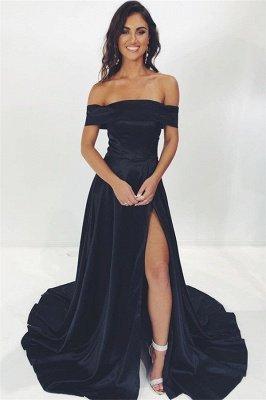 Vestidos de noche negros con corte lateral en el hombro fuera de los hombros con glamour_1