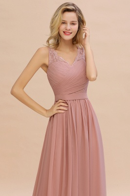 Beautiful V-neck Long Evening Dresses with soft Pleats | Sexy Sleeveless V-back Dusty Pink Womens Dress for Prom_10