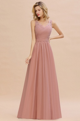 Beautiful V-neck Long Evening Dresses with soft Pleats | Sexy Sleeveless V-back Dusty Pink Womens Dress for Prom_12